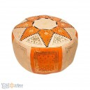 Leather Fassi Pouf in ivory and orange