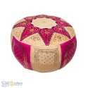 Leather Fassi Pouf in ivory and fuchsia