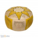 Leather Fassi Pouf in ivory and yellow