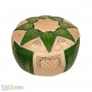 Leather Fassi Pouf in ivory and green