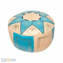 Leather Fassi Pouf in ivory and turquoise