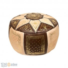 Leather Fassi Pouf in ivory and brown