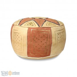 Leather Fassi Pouf in ivory and tan