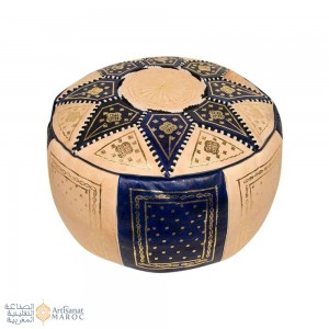 Leather Fassi Pouf in ivory and blue
