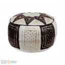 Leather Fassi Pouf in black and white